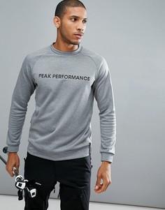 Серый свитшот с круглым вырезом и логотипом Peak Performance - Серый