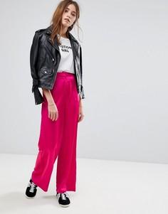 Атласные широкие брюки Glamorous - Розовый