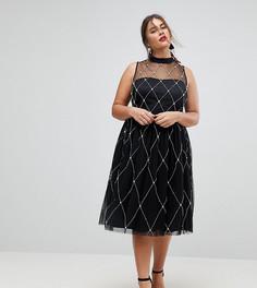 Платье миди для выпускного с отделкой искусственным жемчугом ASOS CURVE PREMIUM - Черный