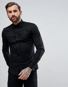 Черная приталенная сатиновая рубашка с плиссированной планкой ASOS - Черный