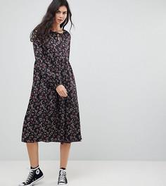 Свободное платье миди с цветочным принтом Glamorous Tall - Черный