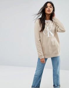 Свитшот с круглым вырезом и логотипом Calvin Klein Jeans - Серебряный