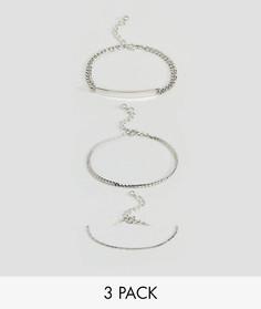 Набор из 3 браслетов-цепочек в винтажном стиле ASOS - Серебряный