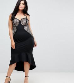 Облегающее платье с кружевом и оборкой по краю ASOS CURVE - Черный