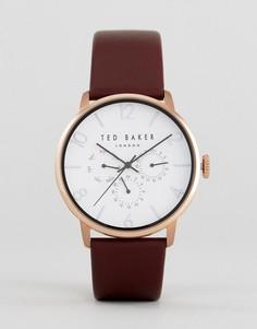 Часы с хронографом и коричневым кожаным ремешком Ted Baker James - Коричневый