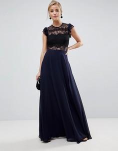 Платье макси с кружевным топом и оборками ASOS - Темно-синий