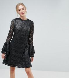 Кружевное свободное платье с отделкой металлик и рукавами клеш Little Mistress Tall - Серебряный
