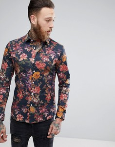 Рубашка зауженного кроя с цветочным принтом ASOS - Темно-синий