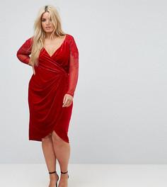 Бархатное платье миди с запахом и кружевной аппликацией на рукавах Little Mistress Plus - Красный