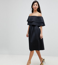 Платье миди с открытыми плечами ASOS PETITE - Черный