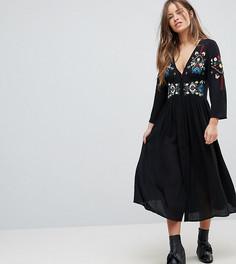 Платье макси с вышивкой ASOS PETITE - Черный