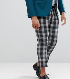Узкие укороченные брюки в клетку Noose & Monkey PLUS - Серый
