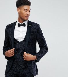 Супероблегающий пиджак с набивкой флок Noose & Monkey TALL - Серый