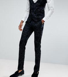 Супероблегающие брюки с набивкой флок Noose & Monkey TALL - Серый