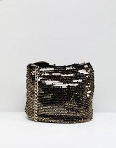 Сумка с цепочкой и пайетками в стиле диско New Look - Черный