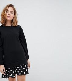 Платье 2 в 1 с плиссированным краем ASOS PETITE - Черный