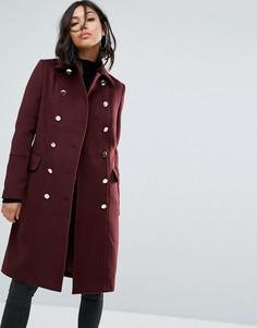 Двубортное пальто Boohoo - Красный