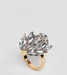 Броское кольцо с отделкой камнями ASOS CURVE - Золотой
