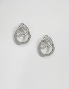 Серьги-кольца со стразами Fiorelli - Серебряный