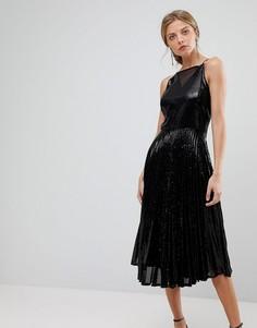 Плиссированное платье с пайетками Coast Viviana - Черный
