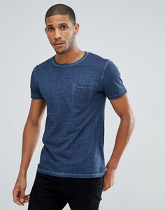 Темно-синяя фактурная футболка с карманом Tom Tailor - Темно-синий