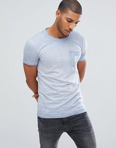 Синяя футболка пигментной окраски Tom Tailor - Синий