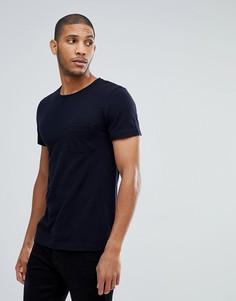 Темно-синяя футболка из пике с карманом Tom Tailor - Темно-синий