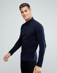 Темно-синяя футболка-поло с длинными рукавами Tom Tailor - Темно-синий
