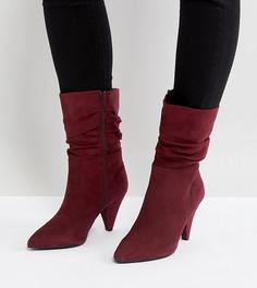 Полусапожки на каблуке для широкой стопы с присборенным голенищем New Look - Красный