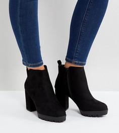 Ботильоны для широкой стопы на рифленой подошве и каблуке New Look - Черный