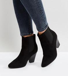 Ботильоны на каблуке для широкой стопы с острым носком New Look - Черный