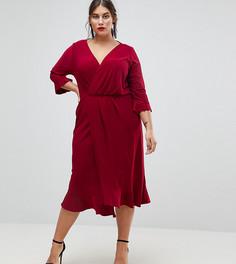 Платье миди с запахом и оборками ASOS CURVE - Красный