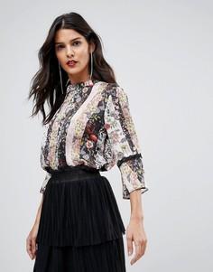Блузка с цветочным принтом и отделкой Morgan - Выбирай и комбинируй - Мульти