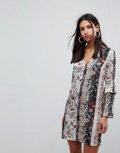 Платье А-силуэта с комбинированным цветочным принтом Morgan - Мульти