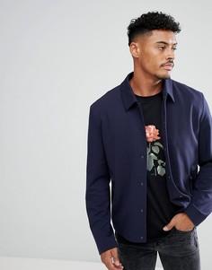 Темно-синяя трикотажная куртка-рубашка HUGO - Черный