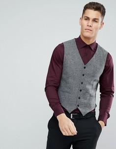 Приталенный жилет из твида Jack & Jones Premium - Серый