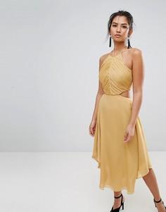 Платье миди с вырезом Keepsake Elevate - Золотой
