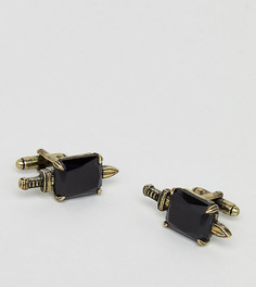 Золотисто-черные запонки в виде кинжалов Reclaimed Vintage Inspired эксклюзивно для ASOS - Золотой