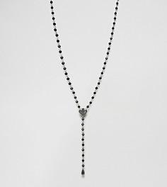Черное ожерелье с бусинами Reclaimed Vintage эксклюзивно для ASOS - Серебряный