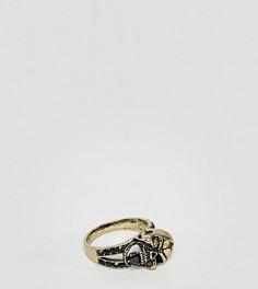Серебристое кольцо с черепом Reclaimed Vintage эксклюзивно для ASOS - Золотой