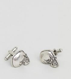 Запонки с черепами Reclaimed Vintage Inspired эксклюзивно для ASOS - Серебряный