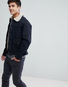 Джинсовая куртка на меховой подкладке Esprit - Темно-синий