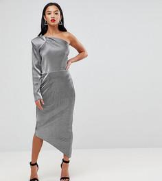 Платье-футляр на одно плечо с отделкой металлик John Zack Petite - Серебряный