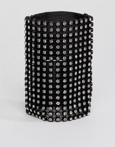 Широкий браслет со стразами Monki - Черный