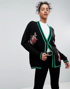 Кардиган с цветочной вышивкой ASOS - Черный