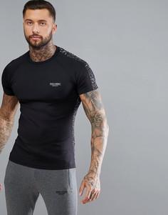 Черная облегающая футболка со светоотражающей отделкой Muscle Monkey - Черный
