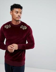 Велюровый обтягивающий свитшот с цветочной вышивкой ASOS - Красный