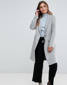 Серое приталенное пальто New Look - Серый