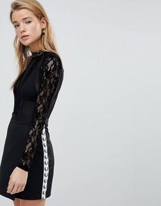 Боди с полупрозрачными сетчатыми вставками New Look - Черный
