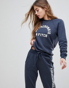 Свитшот с логотипом Abercrombie & Fitch - Темно-синий